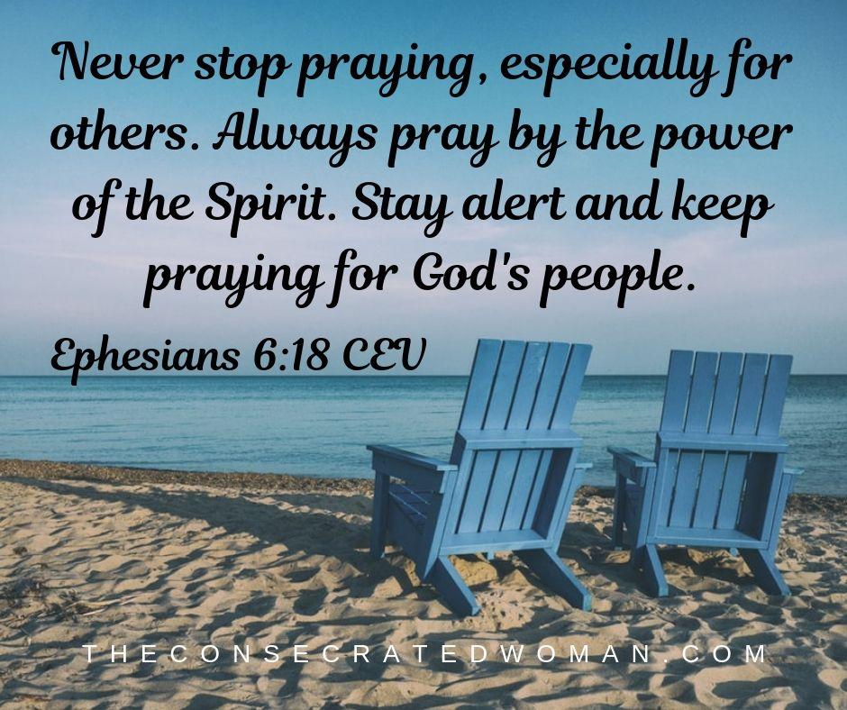 Ephesians 6 18 CEV